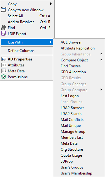User Search - Context Menu